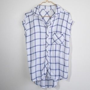 ELAN Windowpane Soft Button Down Short Cap Anthro